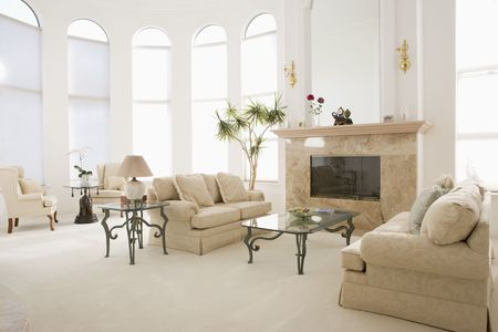 seating: Empty living room in luxurious home