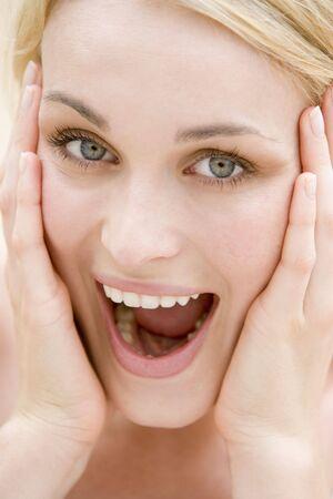 Head shot of woman smiling photo
