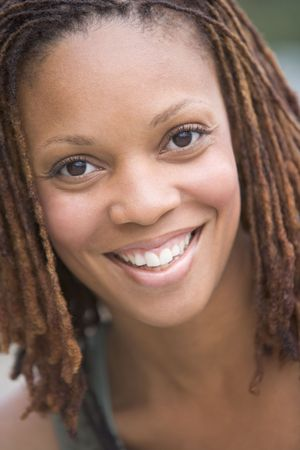 early thirties: Head shot of woman smiling Stock Photo