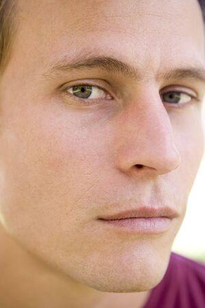 early thirties: Head shot of man thinking Stock Photo