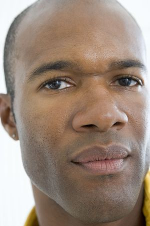 thirties portrait: Head shot of man thinking Stock Photo