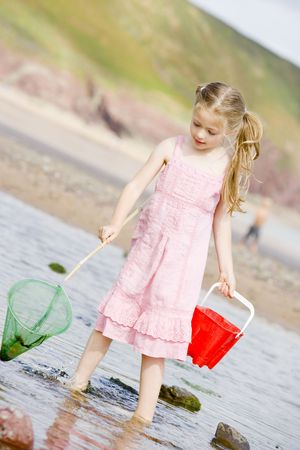 discovering: Young girl at beach with net and pail