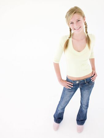 early teens: Teenage girl smiling Stock Photo