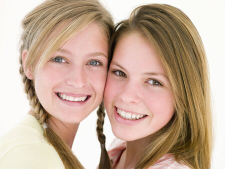 Two girl friends together smiling Stock Photo - 3488384