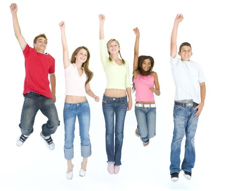 Five friends jumping and smiling photo