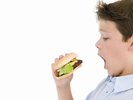 child food: Young boy eating cheeseburger Stock Photo