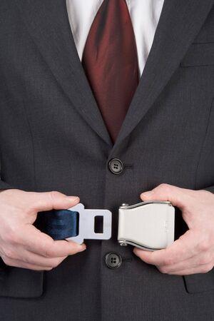 cinturon seguridad: Empresario de sujeci�n cintur�n de seguridad
