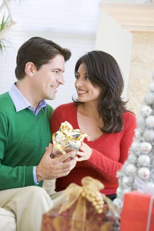 Husband Surprising Wife With Christmas Present Stock Photo - 3724878