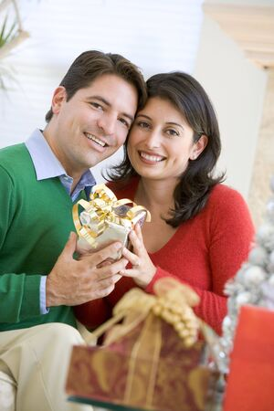 Husband Surprising Wife With Christmas Present Stock Photo - 3724930