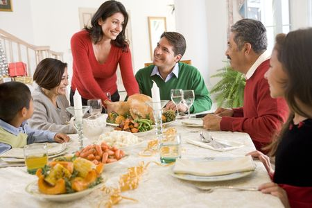 latino man: Family All Together At Christmas Dinner