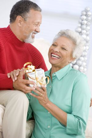 Senior Couple Exchanging A Christmas Gift Stock Photo - 3724807