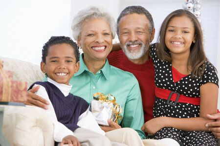 Children With Grandparents At Christmas Stock Photo - 3724835