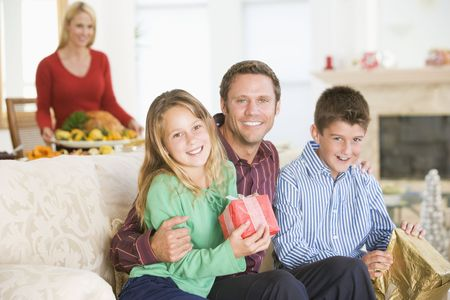 Portrait Of Family At Christmas Stock Photo - 3726425