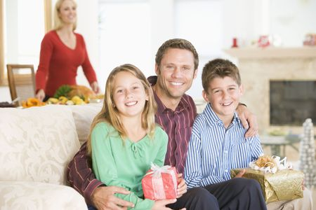 Portrait Of Family At Christmas Stock Photo - 3726466