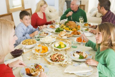 holiday dinner: Family All Together At Christmas Dinner