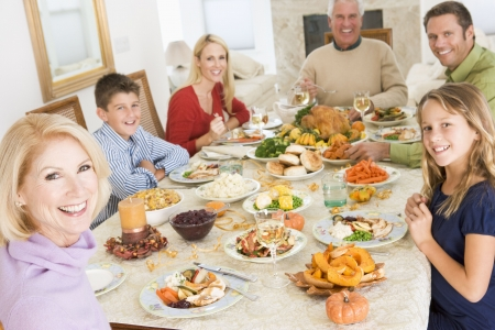 christmas food: Family All Together At Christmas Dinner