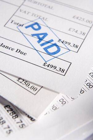 pay bills: Paid Bills Stock Photo