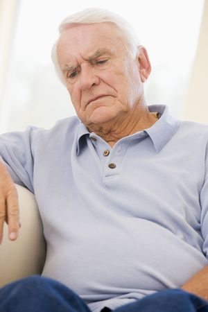 Senior Man Sitting On Couch Stock Photo - 3723266