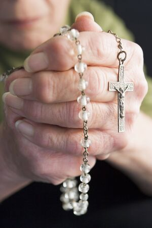 Close-Up Of Elderly Person Holding Rosary Beads Stock Photo - 3723426