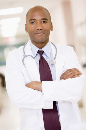 Doctor Standing In A Hospital Corridor photo