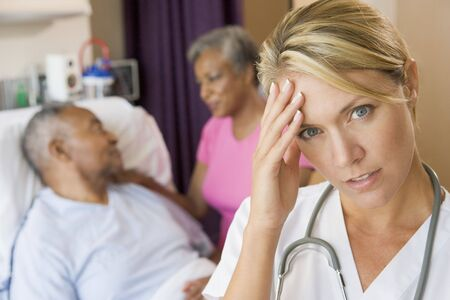 healthcare visitor: Doctor With Headache In Patients Room