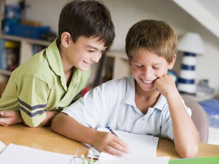 9 year old: Two Young Boys Doing Their Homework Together