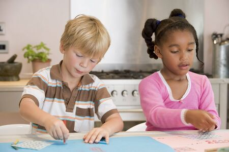 Two Young Friends Drawing Pictures photo