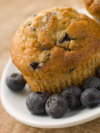 blueberry muffin: Blueberry Muffin On A Plate With Blueberries