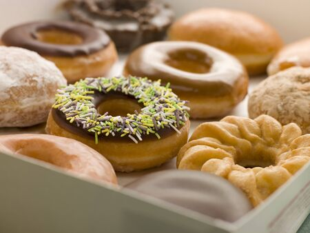 doughnut: Selection Of Doughnuts In A Tray Stock Photo