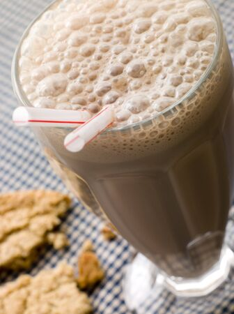 Chocolate Milkshake With A Cookie photo