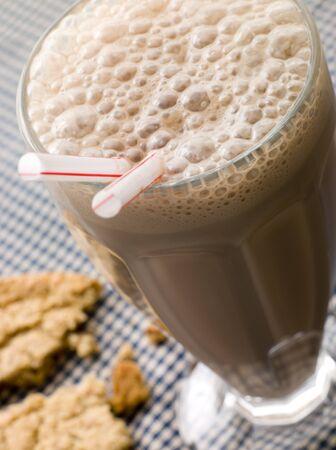 milkshake: Chocolate Milkshake With A Cookie