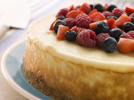 pie de limon: Nueva York Cheesecake Con Mezcla de Bayas
