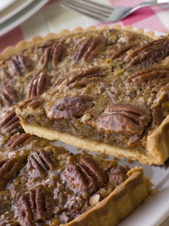 pecan: Pecan Pie With A Slice Being Cut