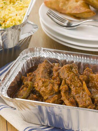 samosa: Indian Take Away- Beef Madras, Pilau Rice And Vegetable Samosa  Stock Photo