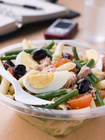 tuna: Tuna Pasta Nicoise Salad Stock Photo