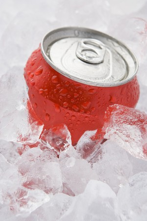 Red Can Of Fizzy Soft Drink Set In Ice  Stock Photo - 4444856
