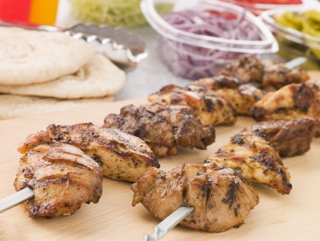 middle eastern food: Marinated Chicken Kebab On A Skewer