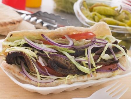 marinated: Marinated Lamb Kebab In A Pitta Bread