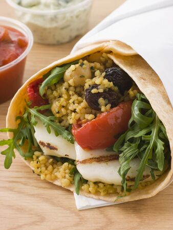 Spiced Cous Cous And Grilled Halloumi Tortilla Wrap photo