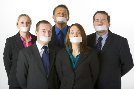 Group Of Business People With Their Mouths Taped Shut photo