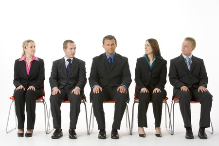 Group Of Business People Sitting In A Line  photo