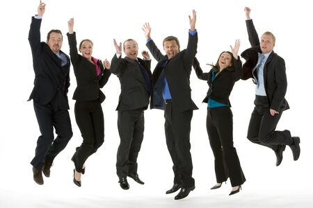man jump: Group Of Business People Jumping In The Air  Stock Photo