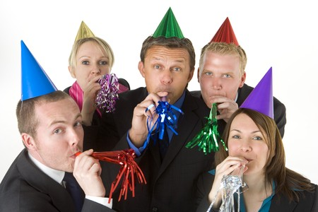 party hat: Group Of Business People Wearing Party Favors