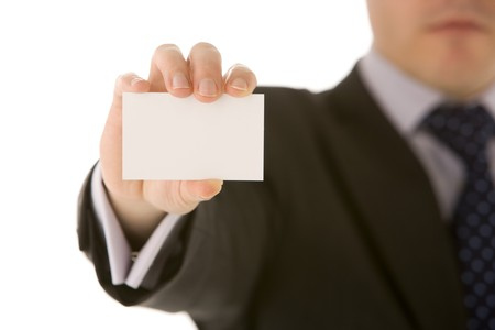 Businessman Holding Business Card Stock Photo - 4444443