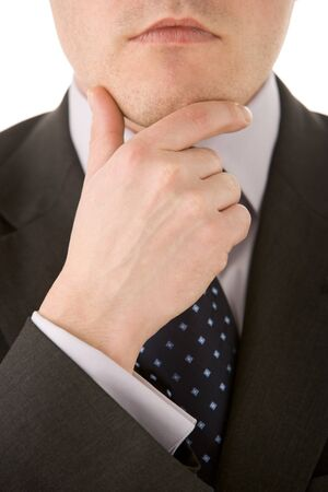 Businessman Holding His Chin Stock Photo - 4444605