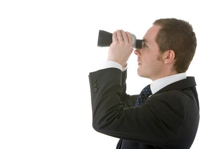 Businessman Looking Through Binoculars Stock Photo - 4444445