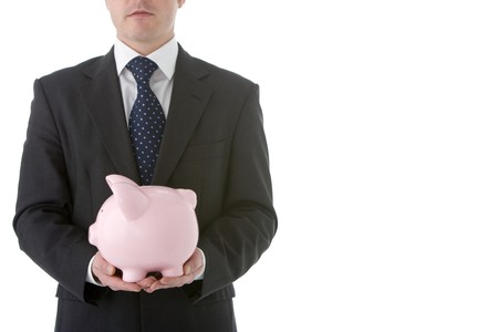 Businessman Holding Piggy Bank Stock Photo - 4444439