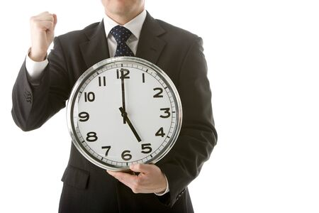 Businessman Holding Clock  Stock Photo - 4444485