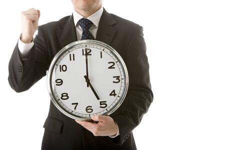 Businessman Holding Clock Stock Photo - 4444485