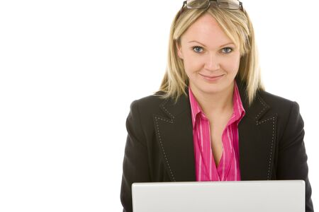 Businesswoman Sitting In Front Of Laptop  photo